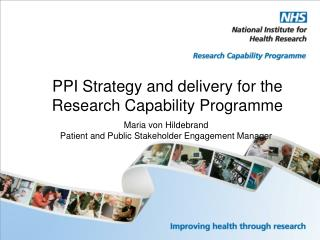 PPI Strategy and delivery for the  Research Capability Programme