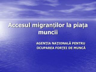 Accesul migran ț ilor la pia ț a muncii