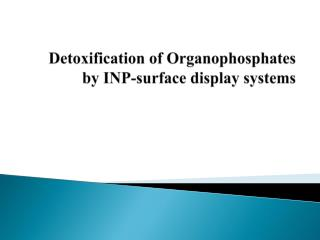 Detoxification of Organophosphates by INP-surface display systems