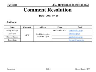 Comment Resolution