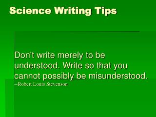 Science Writing Tips