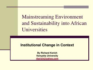 Mainstreaming Environment and Sustainability into African Universities