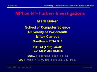 MPI on NT- Further Investigations