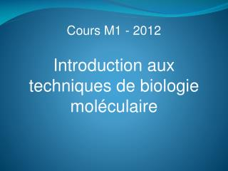 Cours M1 - 2012
