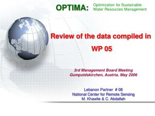 Review of the data compiled in  WP 05