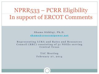 NPRR533 – PCRR Eligibility In support of ERCOT Comments