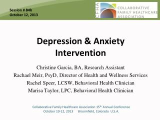 Depression & Anxiety Intervention
