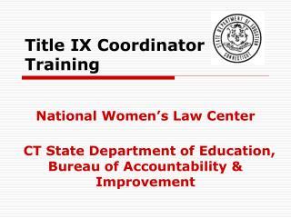Title IX Coordinator Training