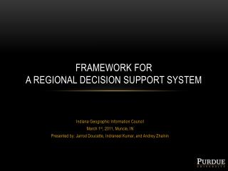 Framework for  a regional decision support system