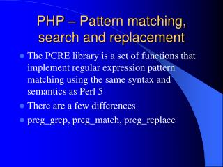 PHP – Pattern matching, search and replacement
