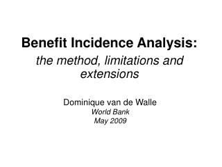 Benefit Incidence Analysis: the method, limitations and extensions