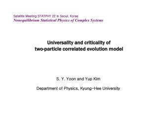 Universality and criticality of  two-particle correlated evolution model