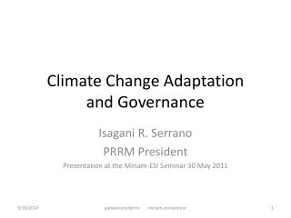 Climate Change Adaptation and Governance