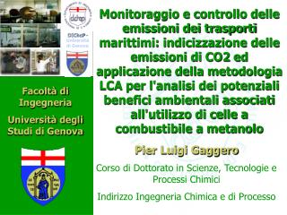 Pier Luigi Gaggero Corso di Dottorato in Scienze, Tecnologie e Processi Chimici