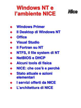 Windows NT e l�ambiente NICE