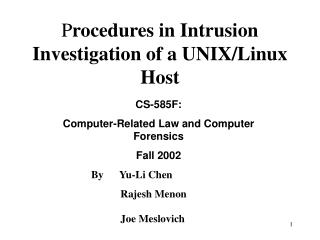 P rocedures in Intrusion Investigation of a UNIX/Linux Host