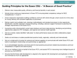 "Guiding Principles for the Essex CSU – ""A Beacon of Good Practice"""