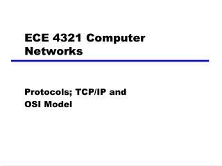 ECE 4321 Computer Networks