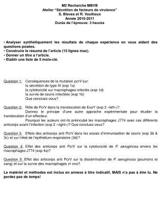 """M2 Recherche MBVB Atelier """"Sécrétion de facteurs de virulence"""" S. Bleves et R. Voulhoux"""