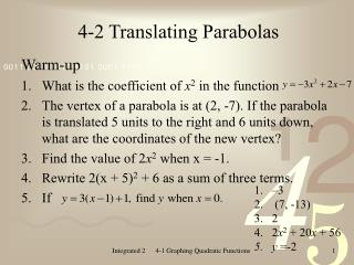 4-2 Translating Parabolas
