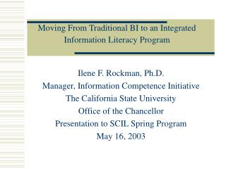 Moving From Traditional BI to an Integrated Information Literacy Program