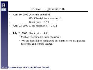 Ericsson – Right issue 2002