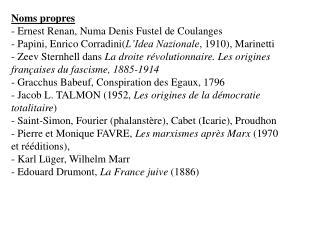 Noms propres : - Volkgeist  - Renzo de Felice - République de Salo - Fossoli