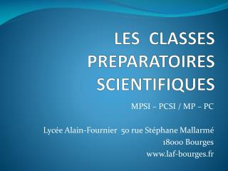 LES  CLASSES  PREPARATOIRES SCIENTIFIQUES