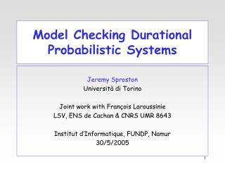 Model Checking Durational Probabilistic Systems