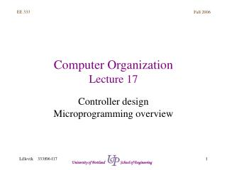 Computer Organization Lecture 17