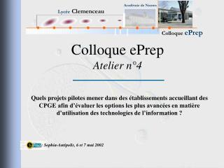 Colloque ePrep Atelier n°4
