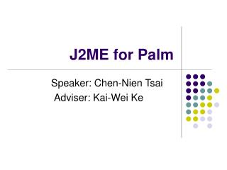 J2ME for Palm