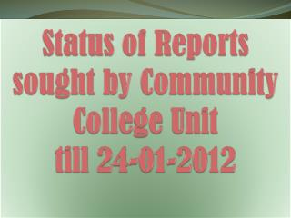 Status of Reports sought by Community College Unit  till 24-01-2012