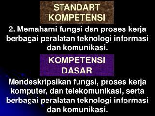 2. Memahami fungsi dan proses kerja berbagai peralatan teknologi informasi dan komunikasi.