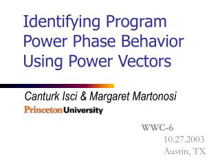 Identifying Program Power Phase Behavior Using Power Vectors