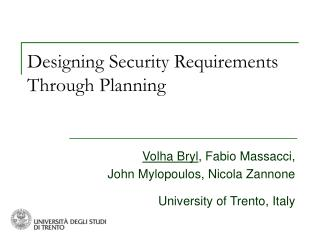 Designing Security Requirements Through Planning