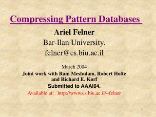 Compressing Pattern Databases