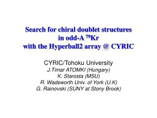 Search for chiral doublet structures  in odd-A  79 Kr  with the Hyperball2 array @ CYRIC