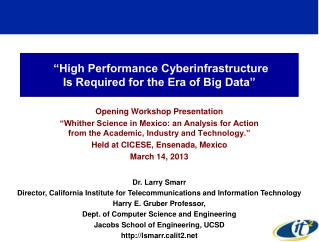 """High Performance Cyberinfrastructure  Is Required for the Era of Big Data"""