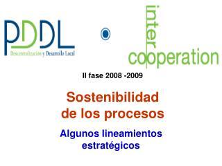 II fase 2008 -2009 Sostenibilidad de los procesos