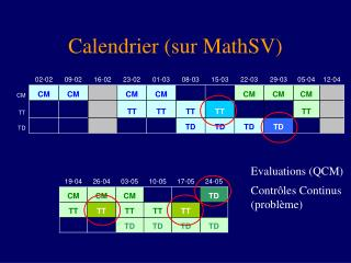 Calendrier (sur MathSV)