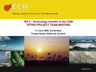 WP 2 : Technology transfer in the CDM TETRIS PROJECT TEAM MEETING