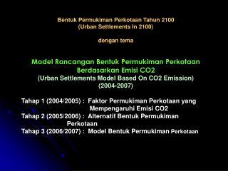 Bentuk Permukiman Perkotaan Tahun 2100 ( Urban Settlements In 2100) dengan tema