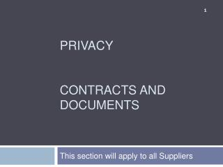 PRIVACY  CONTRACTS  AND  DOCUMENTS