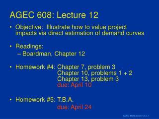 AGEC 608: Lecture 12