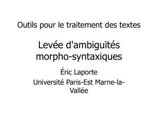 Outils pour le traitement des textes Levée d'ambiguïtés morpho-syntaxiques