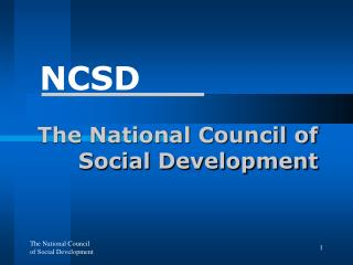 The National Council of Social Development