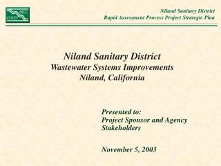 Niland Sanitary District Wastewater Systems Improvements  Niland, California