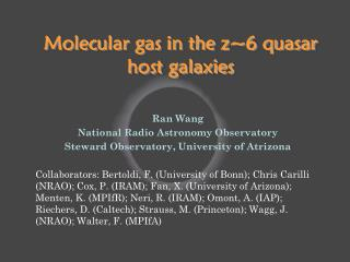 Molecular gas in the z~6 quasar host galaxies