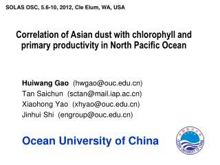 Correlation of Asian dust with chlorophyll and primary productivity in North Pacific Ocean